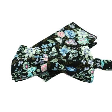 Ensemble Noeud papillon et Pochette assortie. Style 'Liberty', Noir à fleurs bleues.