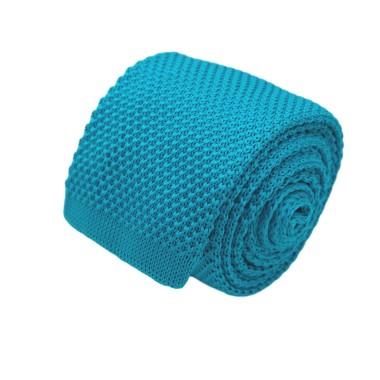 Cravate tricot pour homme. Bleu turquoise soutenu uni. Slim et bout carré.