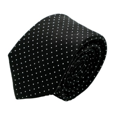 Cravate homme de marque Ungaro. Noir à fins pois blancs