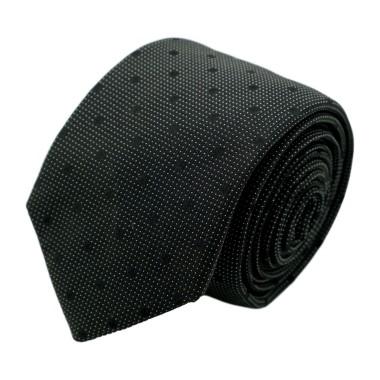 Cravate homme de marque Ungaro. Noir à gros pois noirs