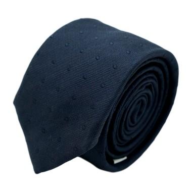 Cravate homme de marque Ungaro. Bleu marine à gros pois marines