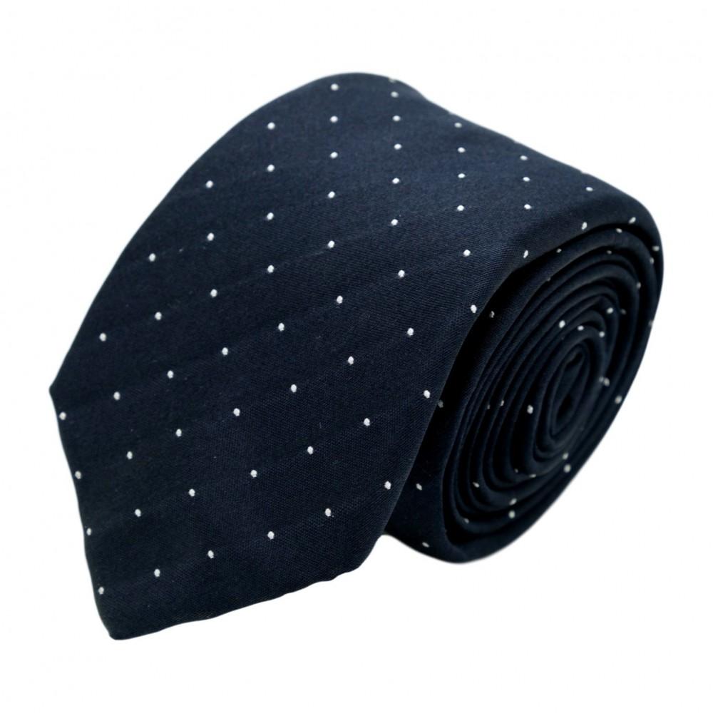 Cravate homme de marque Ungaro. Bleu marine à fins pois blancs