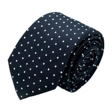 Cravate homme de marque Ungaro. Bleu marine à pois blancs