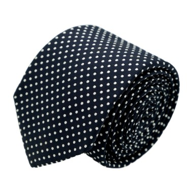 Cravate homme de marque Ungaro. Bleu marine à pois rapprochés