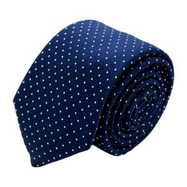 Cravate homme de marque Ungaro. Bleu à pois blancs