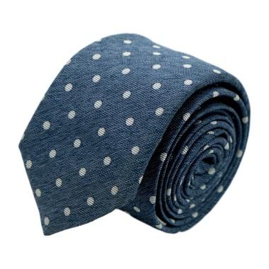 """Cravate homme de marque Ungaro. Bleu style """"Jean"""" à gros pois blancs"""