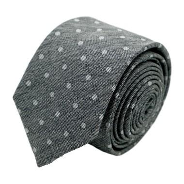 """Cravate homme de marque Ungaro. Gris style """"Jean"""" à gros pois blancs"""
