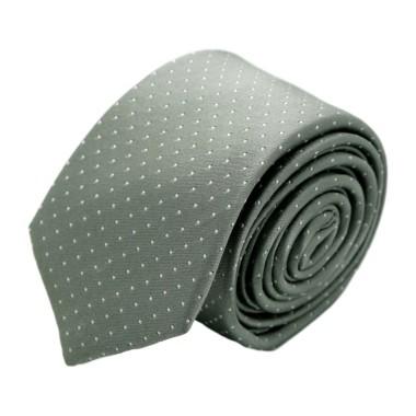 Cravate homme de marque Ungaro. Gris argent à pois blancs