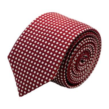 Cravate homme de marque Ungaro. Bordeaux à pois blancs