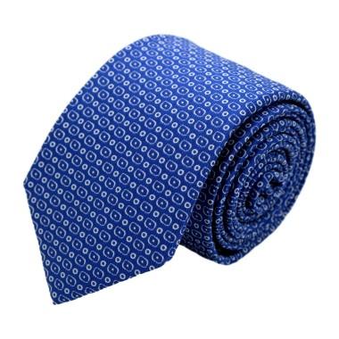 Cravate homme de marque Ungaro. Bleu roi à motifs arrondis