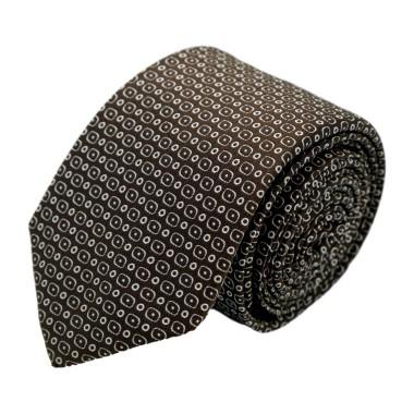 Cravate homme de marque Ungaro. Marron à motifs arrondis