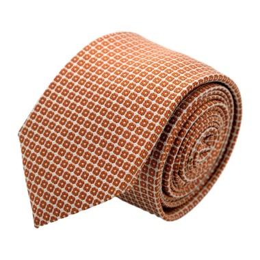 Cravate homme de marque Ungaro. Orange Rouille à motifs carrés