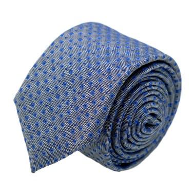 Cravate homme de marque Ungaro. Gris à motifs carrés bleus