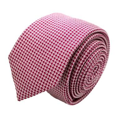 Cravate homme de marque Ungaro. Fuchsia à petits carrés