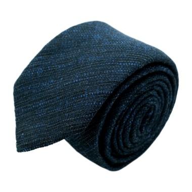 Cravate homme de marque Ungaro. Bleu marine chiné en coton et soie