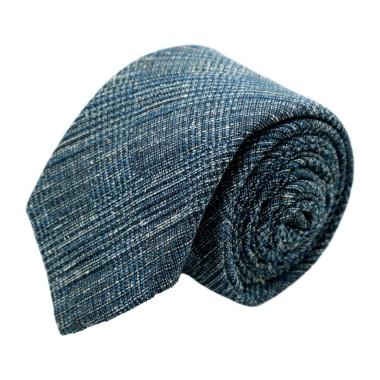 Cravate homme de marque Ungaro. Bleu Gris chiné en coton et soie