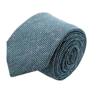 """Cravate homme de marque Ungaro. Bleu """"Œil-de-Perdrix"""" en coton et soie"""