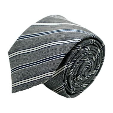 Cravate homme de marque Ungaro. Gris à rayures bleues et blanches