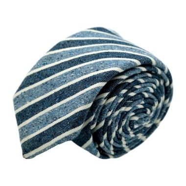 Cravate homme de marque Ungaro. Bleu à rayures en soie et coton