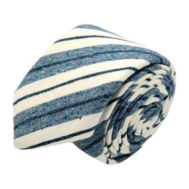 Cravate homme de marque Ungaro. Bleu et Blanc cassé en soie et coton