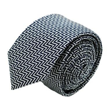 """Cravate homme de marque Ungaro. Noir et Blanc à motif """"Zig-Zag"""""""