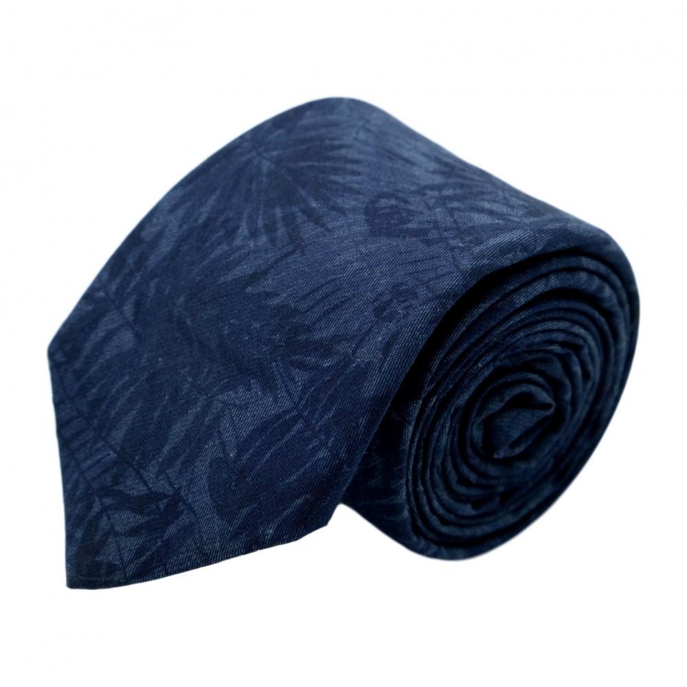 """Cravate homme de marque Ungaro. Bleu marine à motif """"Feuillage"""" en surimpression"""