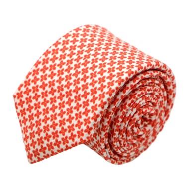 Cravate homme de marque Ungaro. Orange à petites fleurs