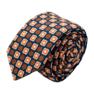Cravate homme de marque Ungaro. Marron à carrés et ronds