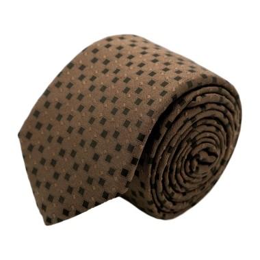 Cravate homme de marque Ungaro. Marron à petits carrés