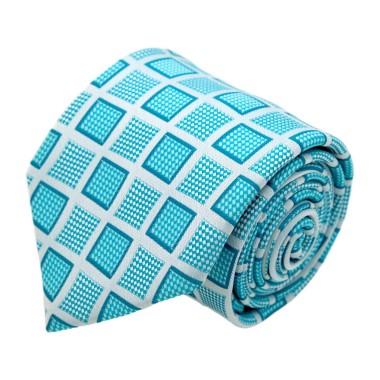 Cravate homme de marque Gianfranco Ferré. Bleu turquoise à grands carrés