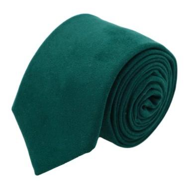 Cravate Homme en Velours. Vert Bouteille uni