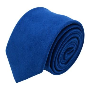 Cravate Homme en Velours. Bleu Roi uni