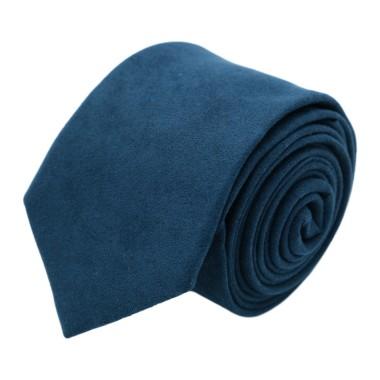Cravate Homme en Velours. Bleu Marine uni