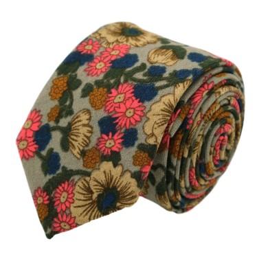 Cravate à Grand Motif Fleuri en coton. Rouge et Gris