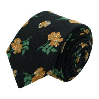 Cravate à Grand Motif Fleuri en coton. Noir et Beige