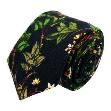 Cravate à Grand Motif Fleuri en coton. Noir et Vert