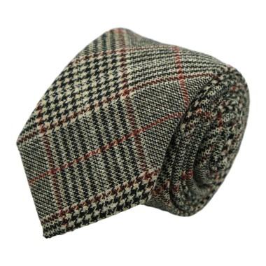 Cravate mode en Laine mélangée pour Homme. Marron Tartan