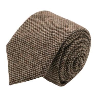 Cravate mode en Laine mélangée pour Homme. Marron Pied-de-Poule