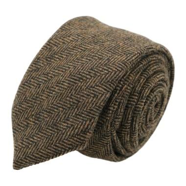 Cravate mode en Laine mélangée pour Homme. Marron grands Chevrons