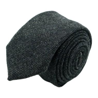 Cravate mode en Laine mélangée pour Homme. Gris grands Chevrons