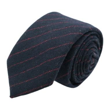 Cravate mode en Laine mélangée pour Homme. Marine à fines rayures rouges