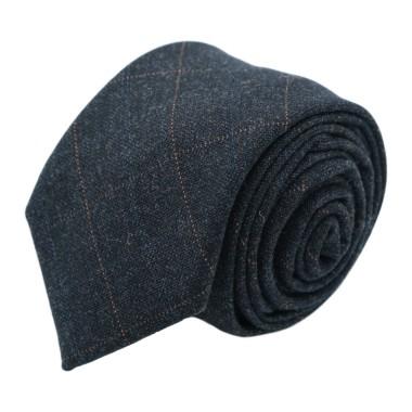 Cravate mode en Laine mélangée pour Homme. Marine à fins carreaux