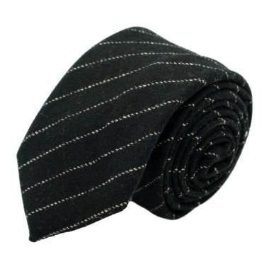 Cravate mode en Laine mélangée pour Homme. Noir à fines rayures blanches