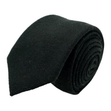 Cravate mode en Laine mélangée pour Homme. Noir uni