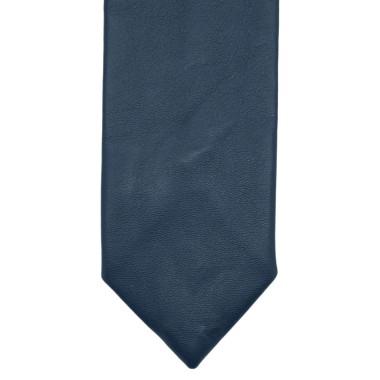Cravate de mode en Cuir PU. Bleu marine uni