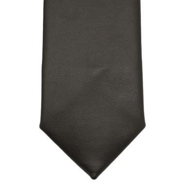 Cravate de mode en Cuir PU. Marron foncé uni