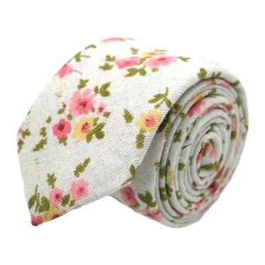 Ensemble Cravate et Pochette d'été Fleuri pour Homme. Blanc cassé à fleurs roses