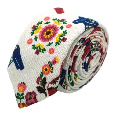 Ensemble Cravate et Pochette d'été Fleuri pour Homme. Blanc cassé motif Cheval