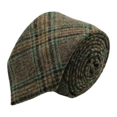 Cravate en Laine mélangée pour Homme. Style et Qualité. Marron Tartan