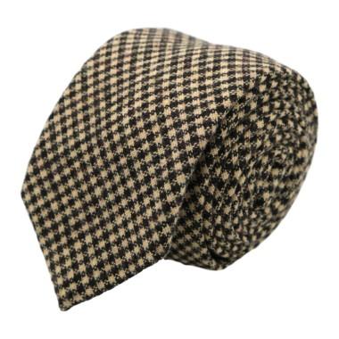 Cravate en Laine mélangée pour Homme. Style et Qualité. Marron à petits carreaux